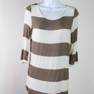French Laundry brown white tunic crochet top